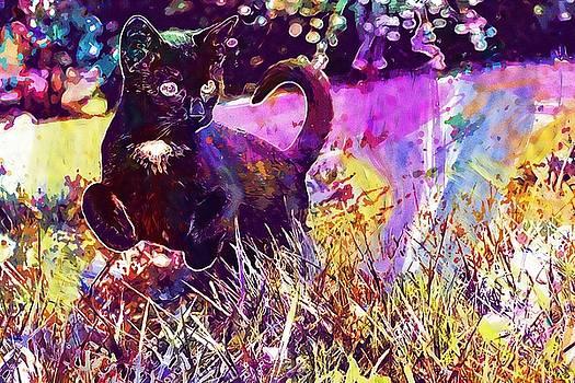 Black Kitten Cat Ferrets  by PixBreak Art