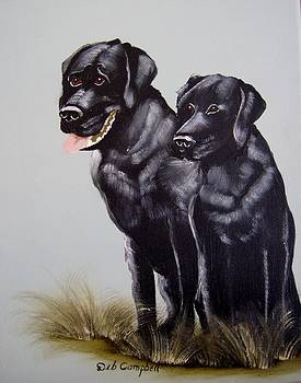 Black Lab Couple by Debra Campbell