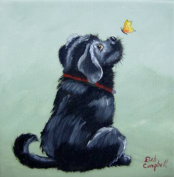 Black Lab Pup with Butterfly by Debra Campbell