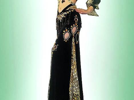 Sofia Metal Queen - Black leopard skirt. Ameynra Belly Dance Fashion