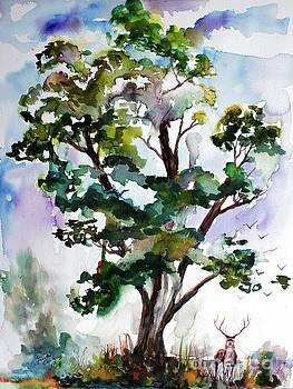 Ginette Callaway - Black Locust Tree and Deer Landscape Portrait