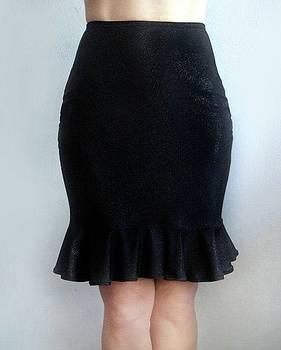 Sofia Metal Queen - Black mini skkirt with ruffle. Ameynra 2015
