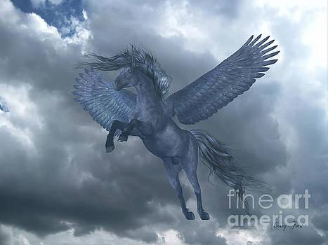 Corey Ford - Black Pegasus in Blue Sky