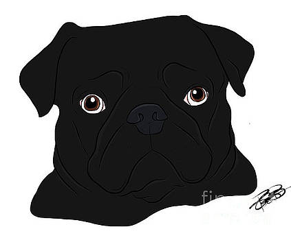 Black Pug by Rachel Barrett