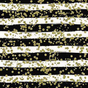 Black Stripes Gold Confetti by Ps
