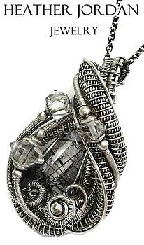 Black Tourmalinated Quartz Wire-Wrapped Pendant in Antiqued Sterling Silver with Herkimer Diamonds by Heather Jordan