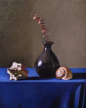 Black Vase With Golden Spirals  by Keith Murray