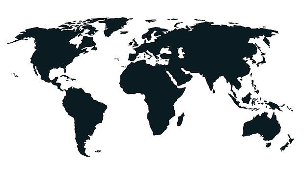 Worldmap Black and White by Ricardo Bouman