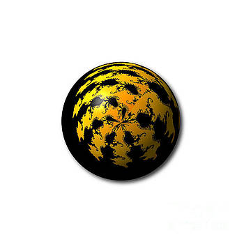 Black Yellow Abstract Globe by Henrik Lehnerer