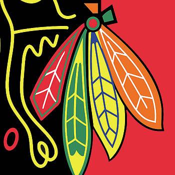 Blackhawks of Chicago Colorful Feather Design by Tony Rubino