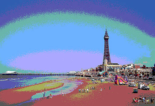 Blackpool Beach and Tower Posterized by Maria Keady