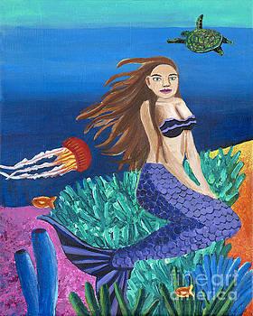 Blonde Mermaid with Purple Tail by Ashley Baldwin