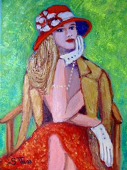 Blondy in red hat by Sylvia Tass