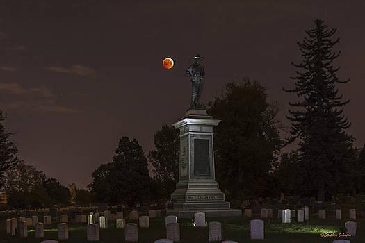 Blood Moon at the Colorado Volunteers Memorial by Stephen  Johnson