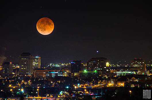 Blood Moon Over Downtown by Benjamin Weilert