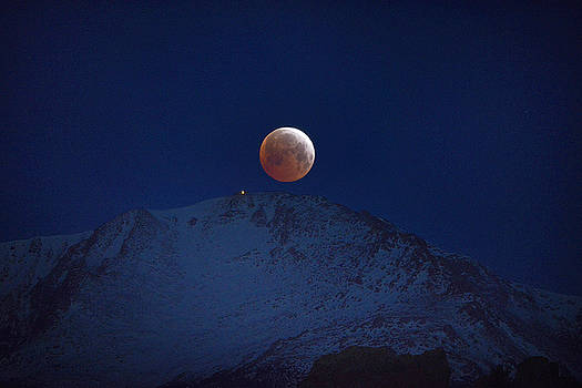 Blood Moon Over Pikes Peak by Bryan Oller