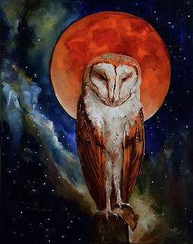 Blood Moon Owl by Margot King