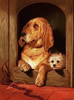 Bloodhound and a terrier by Sir Edwin Landseer