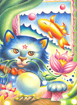 Blooming Blue the Cat by Olga Ziskin