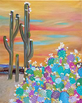 Blooming Cacti by Judith Rhue