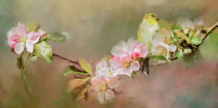 Blooming Flowers and Finch by Lana Trussell