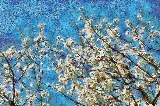 Blossom and Blue Sky In Monet Style by Tracey Harrington-Simpson