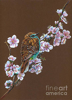 Blossom Fluffy Bird by Anne Koivumaki - Fine Art Anne