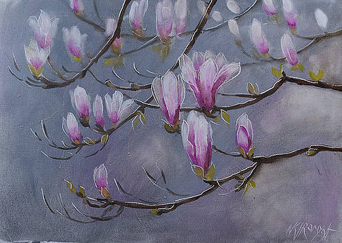 Blossoming Of A Magnolia by Khromykh Natalia