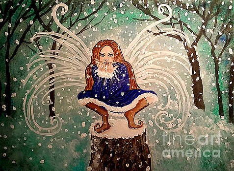 Blowing Christmas Wishes and Kisses - Snow Fairy Art for Christmas or Yule by Carol Ochs