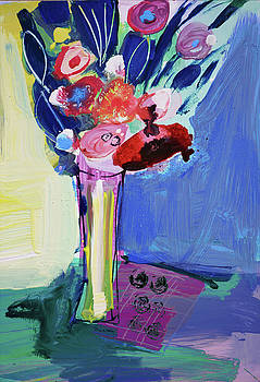Blue Abstract Still Life With Red Flowers by Amara Dacer