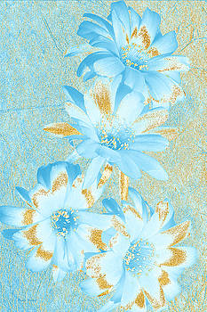 Blue And Gold Flowers by Phyllis Denton