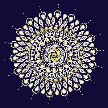 Blue and Gold Lens Mandala by Deborah Smith
