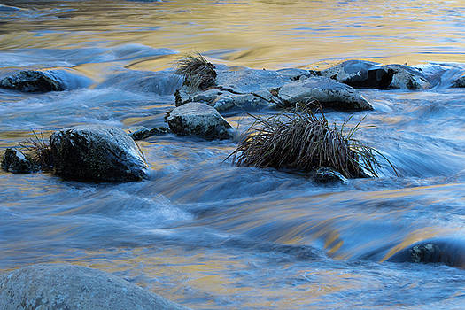 Blue and gold rocks abstract with water reflections of the sky and autumn leaves by Natalie Schorr