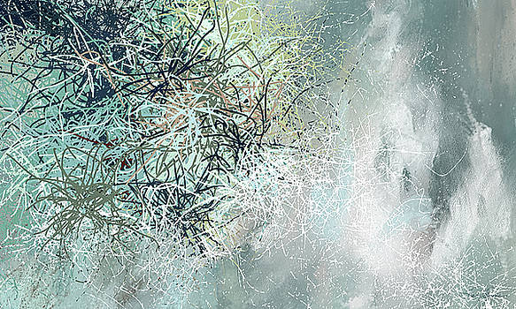 Blue and Gray Modern abstract art by Lourry Legarde