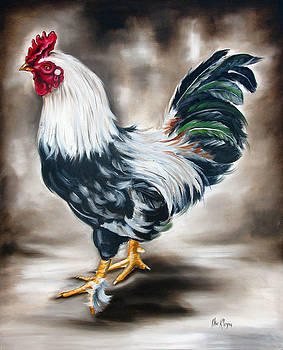 Blue and green rooster by Ilse Kleyn