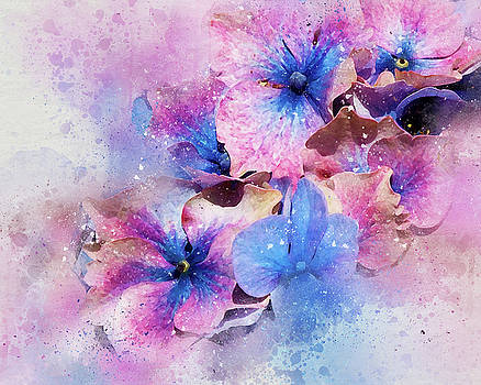 Blue and Purple Flowers by Judi Saunders