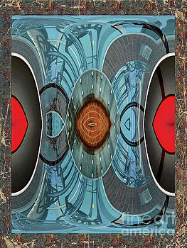 Blue And Red Abstract by Constance Lowery