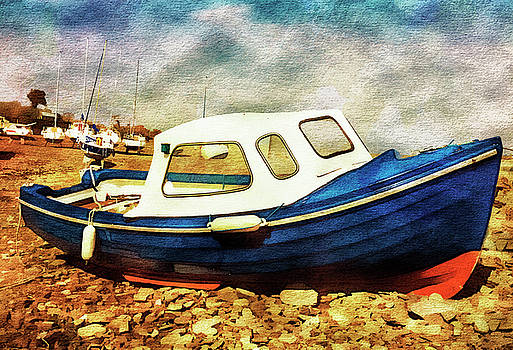 Blue and Red Boat Watercolour effect. by Paul Cullen