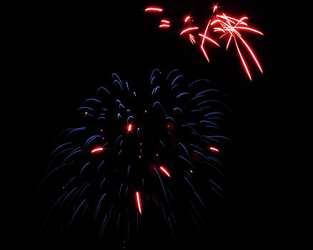 Blue and Red Fireworks by Kyle J West