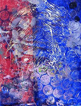 Blue and Red monoprint by Dawn Dreibus