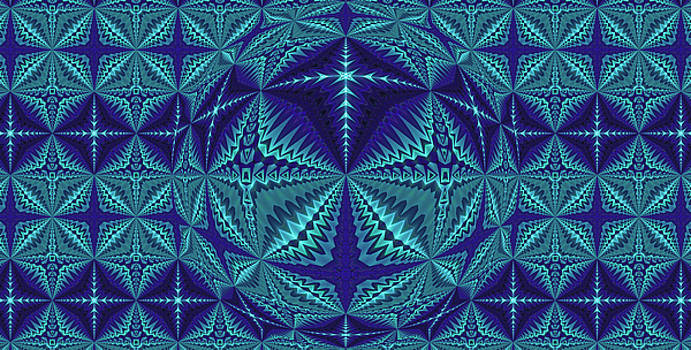 Blue and Turquoise Symmetrical Pattern, Kaleidoscope by Ernst Dittmar