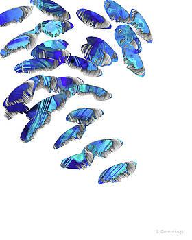 Sharon Cummings - Blue And White Art - Falling 2 - Sharon Cummings
