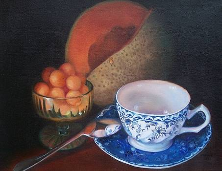 Blue and White Teacup and Melon by Marlene Book