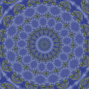 Tracey Harrington-Simpson - Blue and Yellow Abstract Kaleidoscope