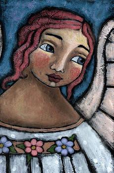 Blue Angel Pink Flower by Julie-ann Bowden