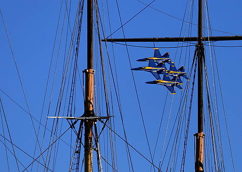 John King - Blue Angels Pass Behind Masts of the Balclutha at Hyde Street Pier