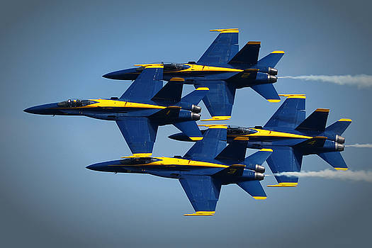 Bill Swartwout Fine Art Photography - Blue Angels Diamond Formation Over Ocean City MD