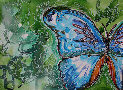 Blue Batik Butterfly by Michele Hollister - for Nancy Asbell
