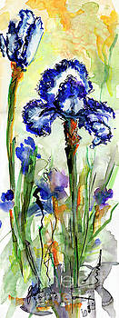 Ginette Callaway - Blue Bearded Irises Watercolor