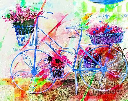 Blue Bicycle And Flowers by Kathleen Struckle